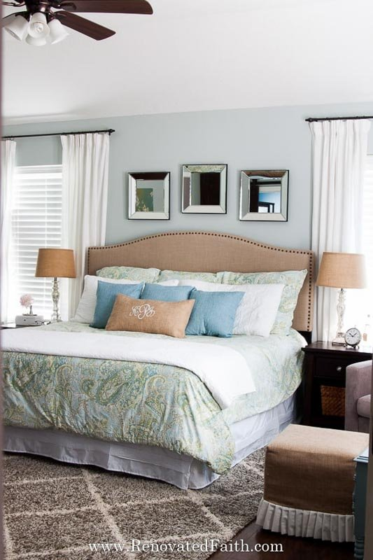 bedroom painted in silver strand by sherwin williams
