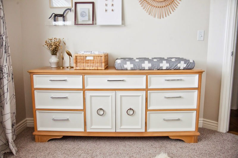 An upcycled dresser in a nursery