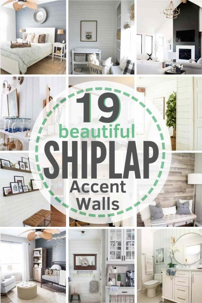 """""""19 beautiful shiplap accent walls"""" with grid of 12 examples"""