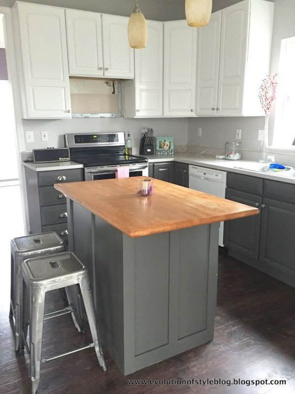 kitchen with island and lower cabinets in SW urbane bronze