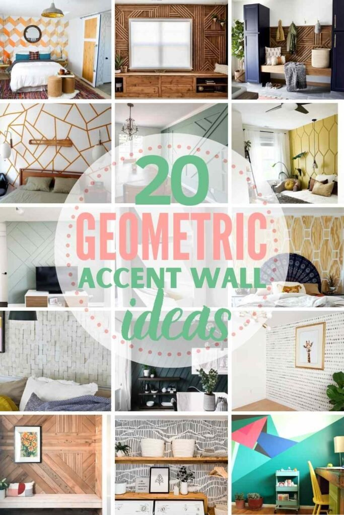 """grid with 15 geometric accent wall examples: """"20 geometric accent wall ideas"""""""