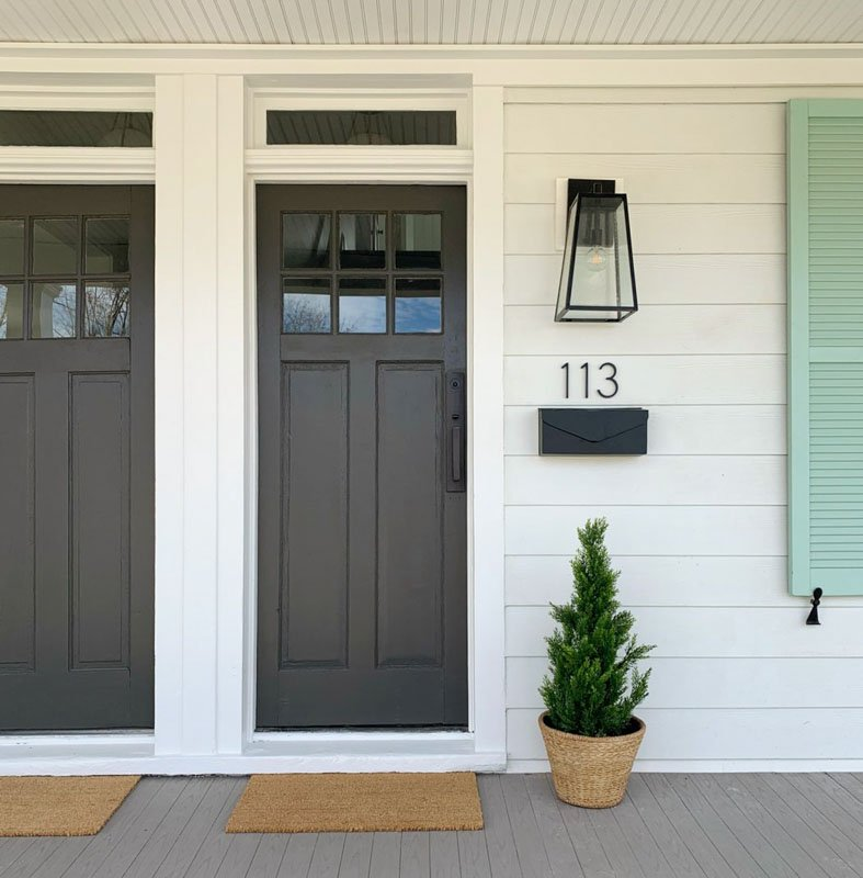 exterior doors painted dark brown gray