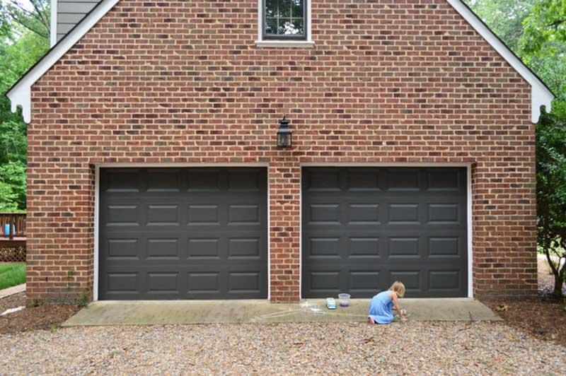 double garage doors painted in sherwin williams urbane bronze