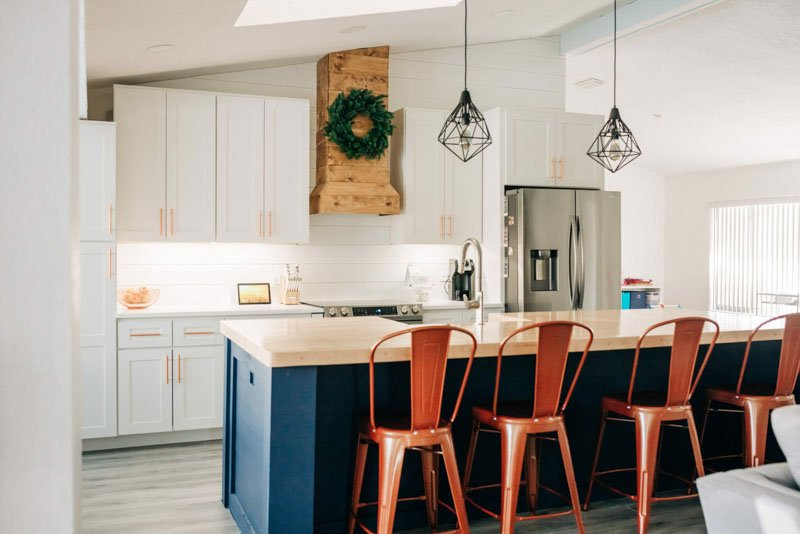 Sherwin Williams Naval featured on a large kitchen island