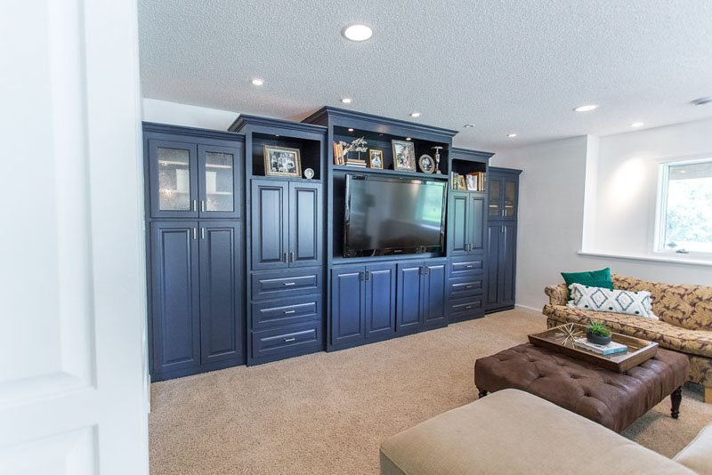 basement built in cabinets painted SW naval