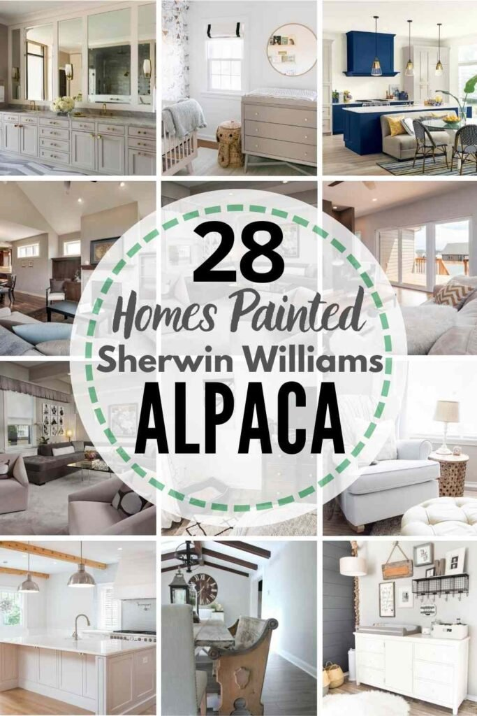 """grid with 12 examples of Sherwin Williams Alpaca in real homes. text"""" 28 real homes painted with Sherwin Williams Alpaca"""""""