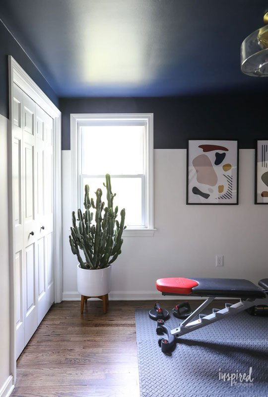 Sherwin Williams Naval blue paint featured on the upper walls of a home gym area.