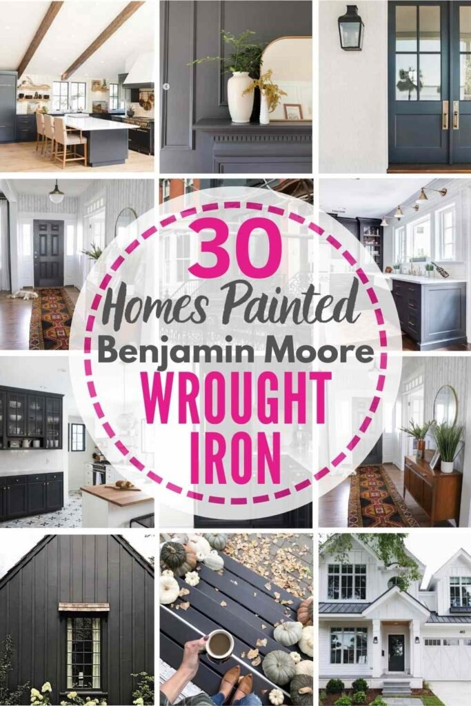 """grid with 15 examples of benjamin moore wrought iron: """"30 homes painted benjamin moore wrought iron"""""""