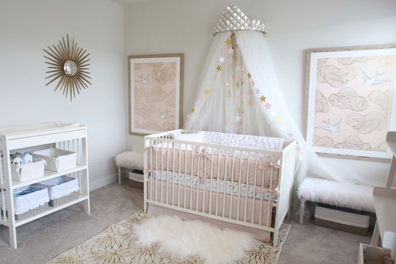sweet nursery with city loft wall paint and canopy over crib