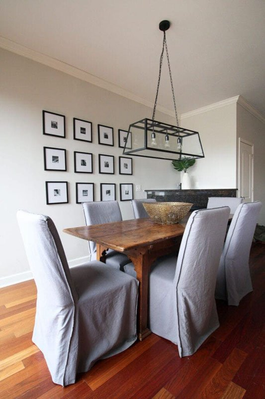 A simple dining room painted in City Loft