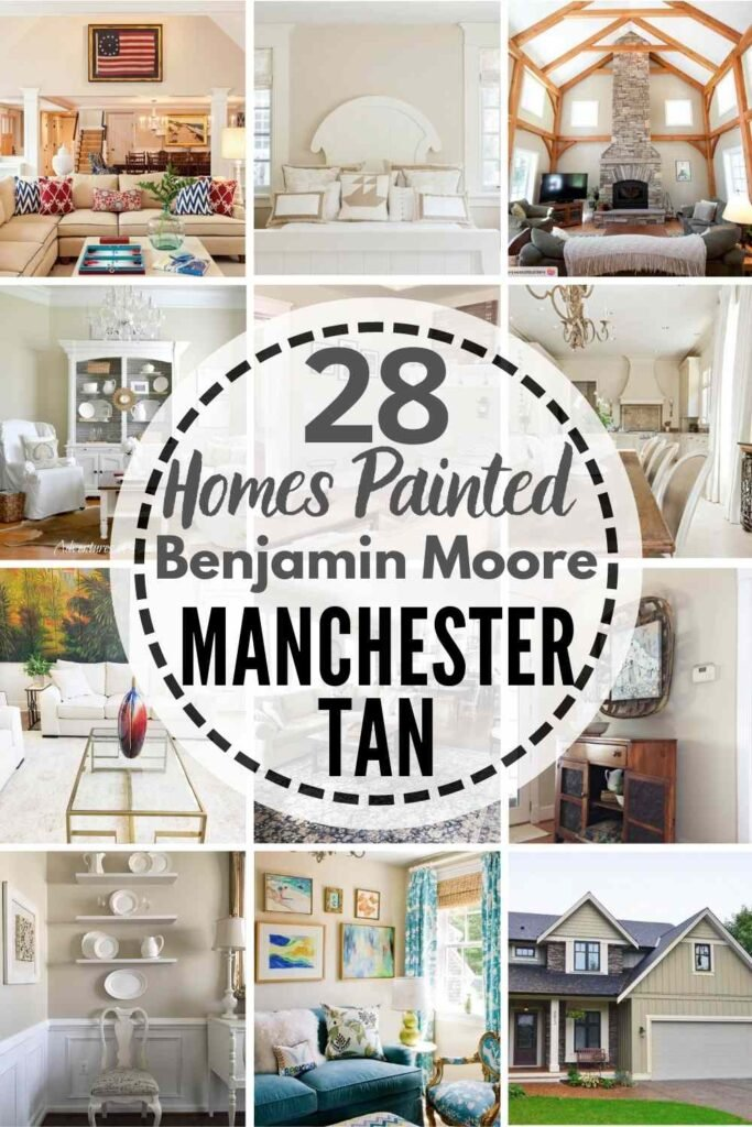 """grid with 12 images of rooms painted Benjamin Moore Manchester Tan: """"28 Homes Painted Benjamin Moore Manchester Tan"""""""