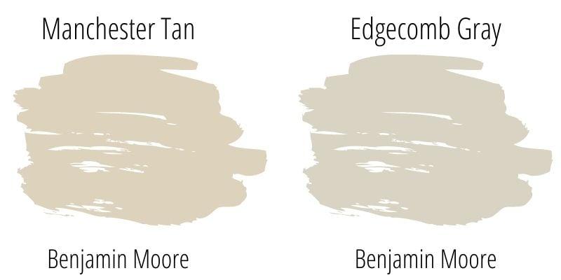 Paint Swatch Comparison of Benjamin Moore Manchester Tan with Benjamin Moore Edgecomb Gray