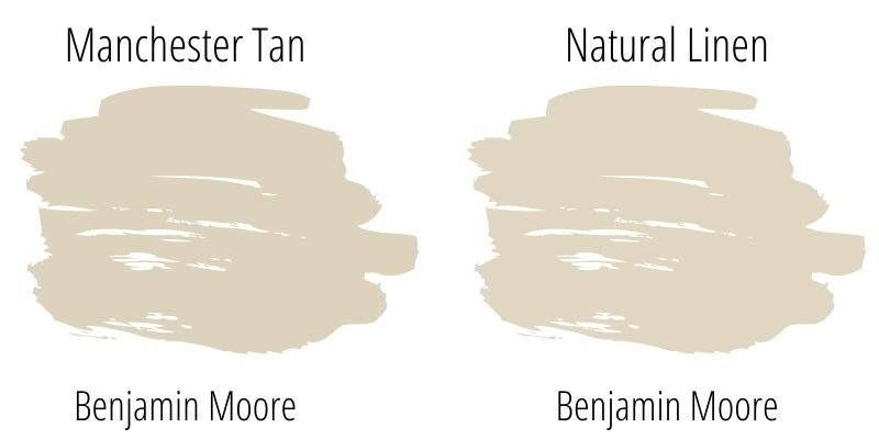 Paint Swatch Comparison of Benjamin Moore Manchester Tan with Benjamin Moore Natural Linen