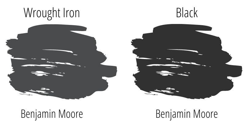 swatch comparison of Benjamin Moore Wrought Iron and Benjamin Moore Black