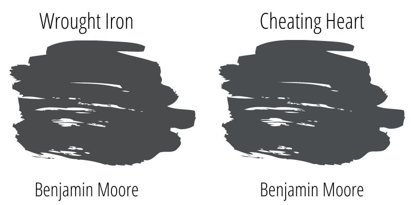 swatch comparison of Benjamin Moore Wrought Iron and Benjamin Moore Cheating Heart