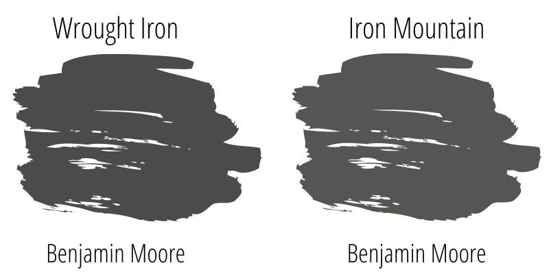 swatch comparison of Benjamin Moore Wrought Iron and Benjamin Moore Iron Mountain