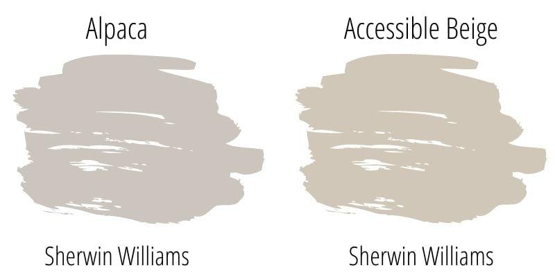 swatch comparison: Sherwin Williams Alpaca versus Sherwin Williams Accessible Beige