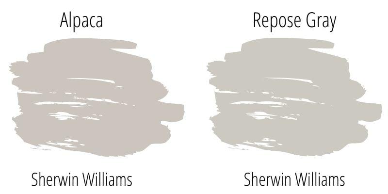 swatch comparison: Sherwin Williams Alpaca versus Sherwin Williams Repose Gray