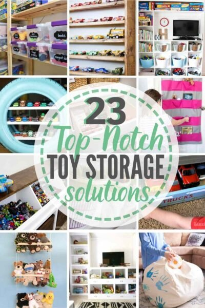 """""""23 top-notch toy storage solutions"""" with grid of 12 toy storage idea examples"""