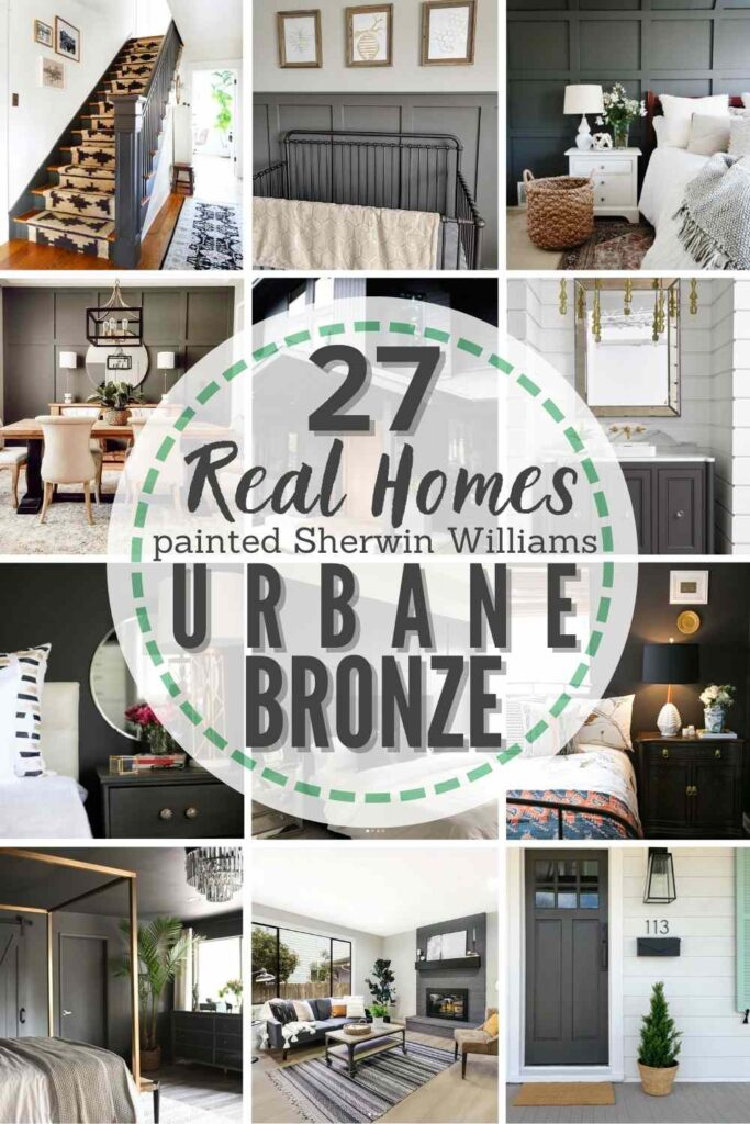 """grid with 12 examples of Sherwin Williams Urbane Bronze in real homes. text"""" 27 real homes painted with Sherwin Williams Urbane Bronze"""""""