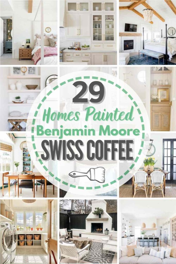 """grid with 12 examples of Benjamin Moore Swiss Coffee in real homes. text"""" 29 real homes painted Benjamin Moore Swiss Coffee"""""""