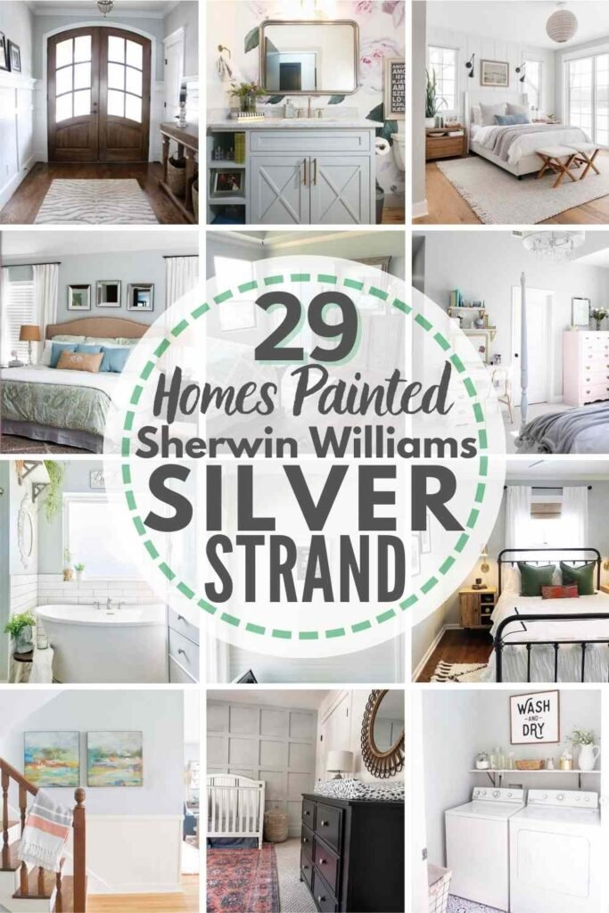 """grid with 12 examples of Sherwin Williams Silver Strand in real homes. text"""" 29 real homes painted with Sherwin Williams Silver Strand"""""""