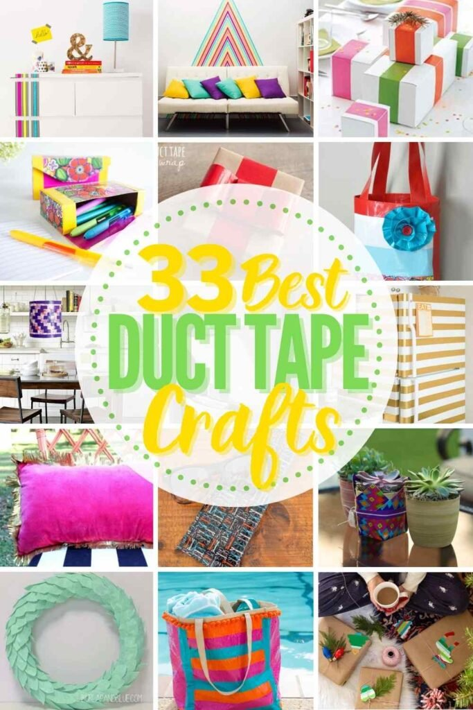 """grid with 15 examples of awesome duct tape craft ideas: """"33 best duct tape crafts"""""""