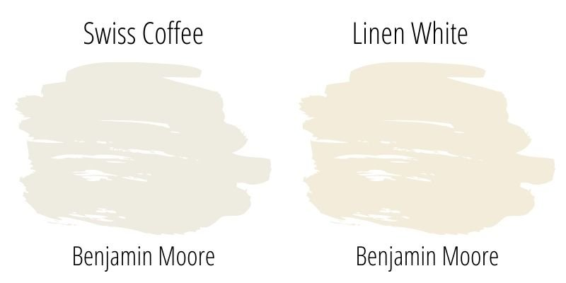 Paint Swatch Comparison of Benjamin Moore Swiss Coffee with Linen White