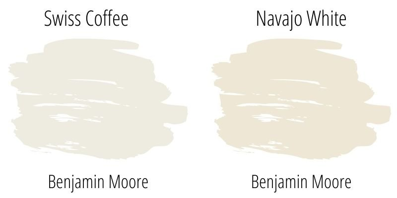 Paint Swatch Comparison of Benjamin Moore Swiss Coffee with Navajo White