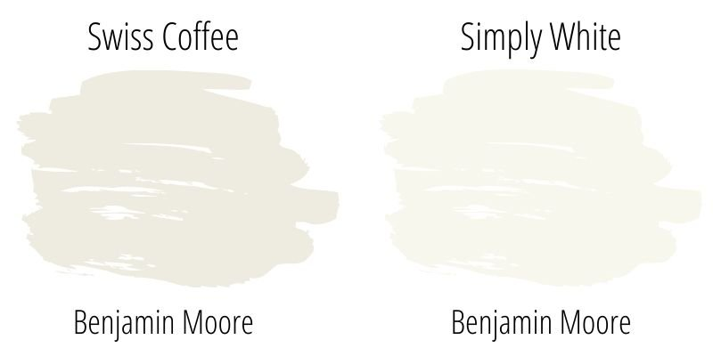 Paint Swatch Comparison of Benjamin Moore Swiss Coffee with Simply White