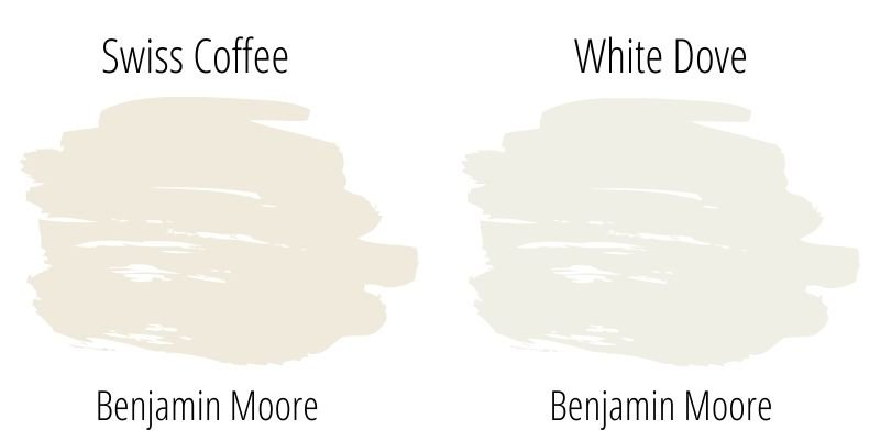 Paint Swatch Comparison of Benjamin Moore Swiss Coffee with White Dove