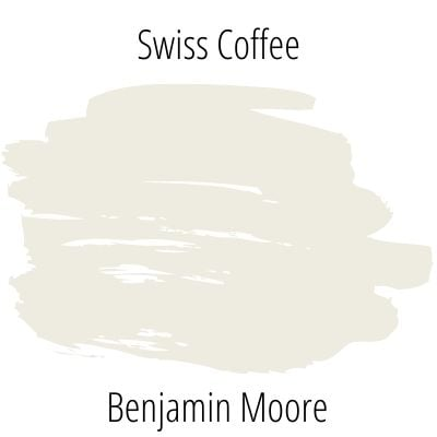 paint swatch of warm, off-white Swiss Coffee by Benjamin Moore