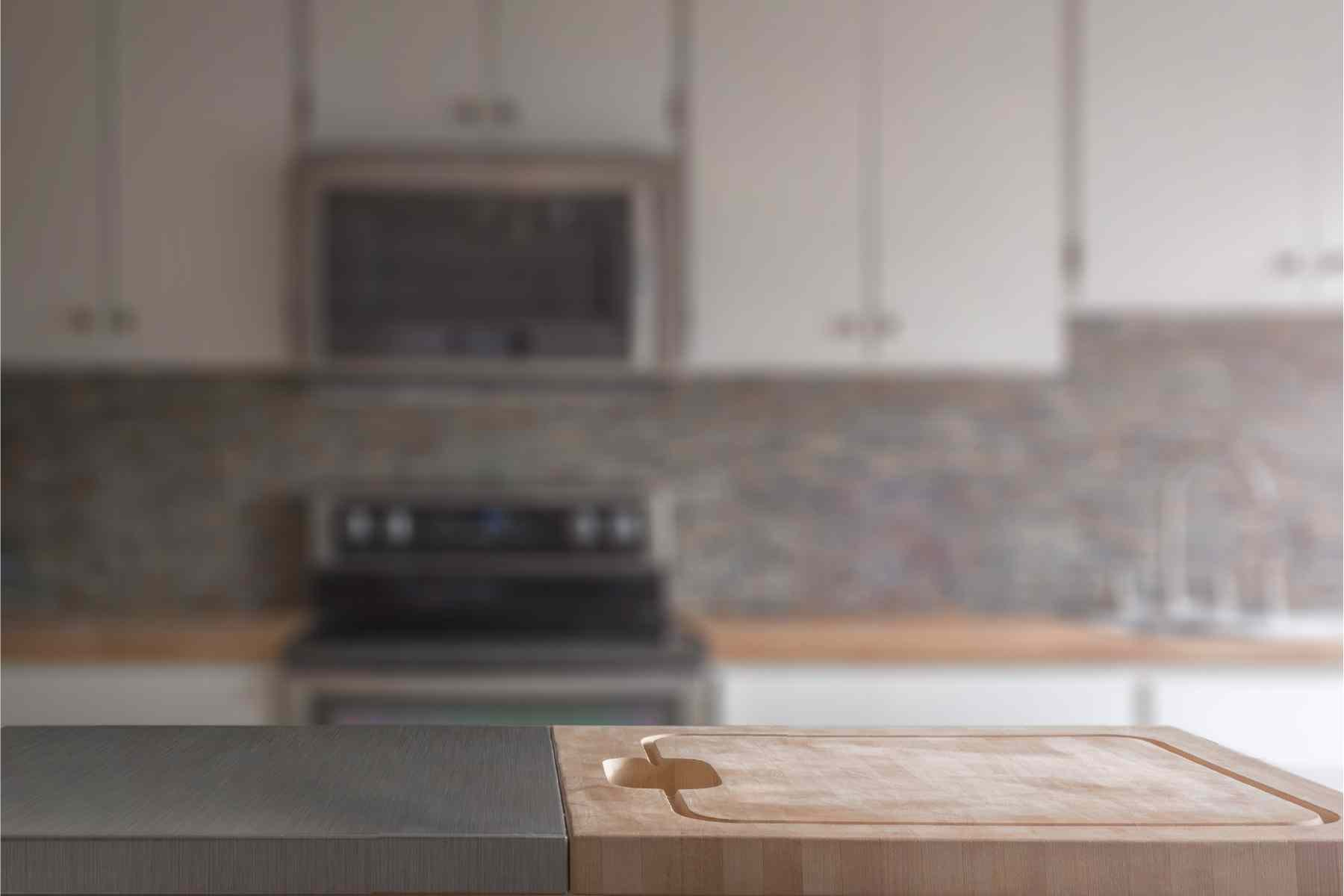 wood counter in a modern kitchen