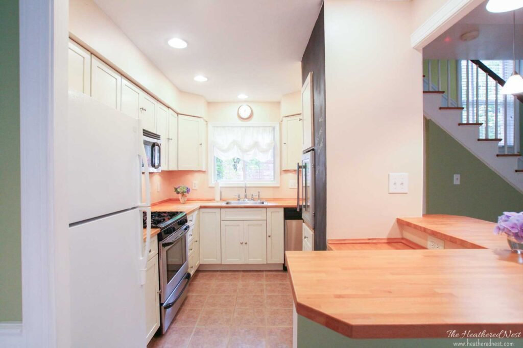 IKEA Karlby butcher block countertops in a historic townhome kitchen