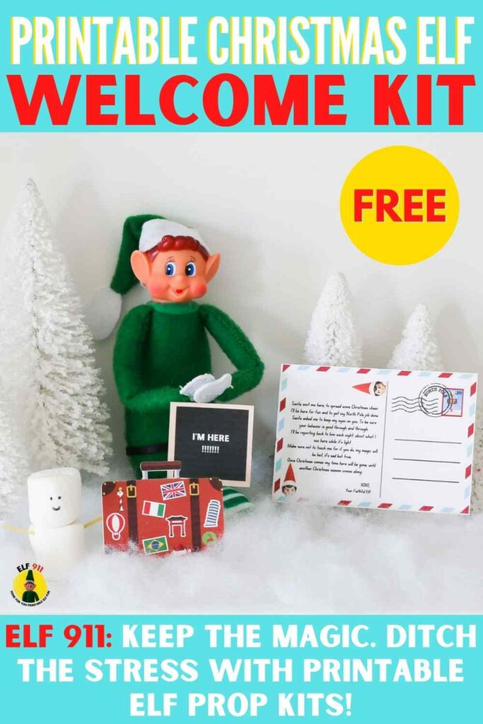 """Printable Christmas Elf Welcome Kit Free Printable! Elf 911: Keep the magic. Ditch the stress with printable elf prop kit! Shows elf with letterboard """"I'm here"""" and air mail postcard as well as travel luggage printables"""