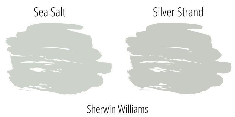 Paint Swatch Comparison of Sherwin Williams Sea Salt versus Sherwin Williams Silver Strand