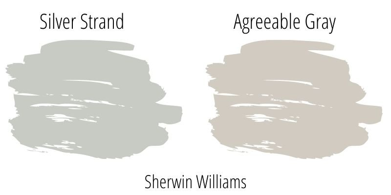 Paint Swatch Comparison of Sherwin Williams Silver Strand versus Sherwin Williams Agreeable Gray