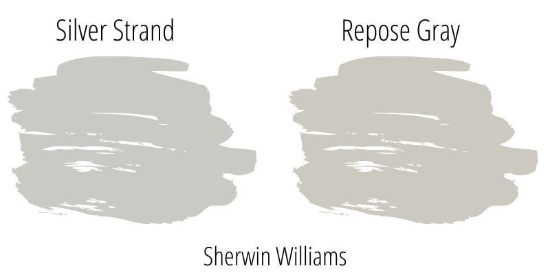 Paint Swatch Comparison of Sherwin Williams Silver Strand versus Sherwin Williams Repose Gray