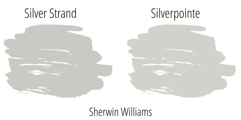 Paint Swatch Comparison of Sherwin Williams Silver Strand versus Sherwin Williams Silverpointe