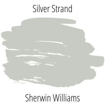 swatch of Sherwin Williams Silver Strand paint
