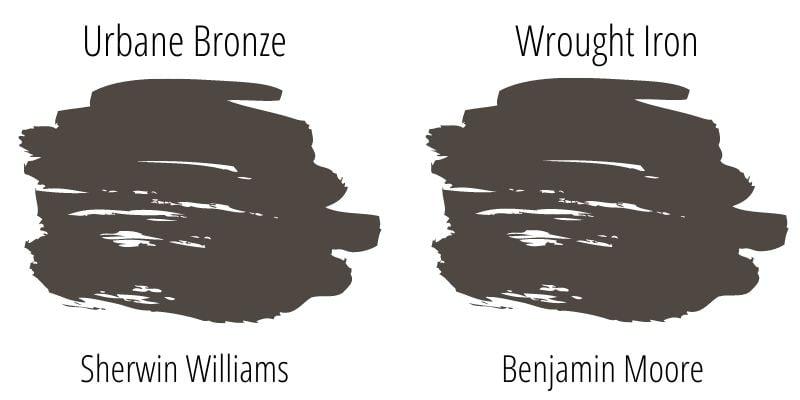 Paint Swatch Comparison of Sherwin Williams Urbane Bronze versus Benjamin Moore Wrought Iron