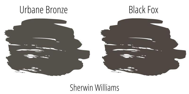 Paint Swatch Comparison of Sherwin Williams Urbane Bronze versus Sherwin Williams Black Fox