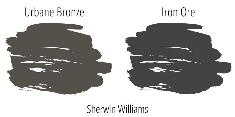 Paint Swatch Comparison of Sherwin Williams Urbane Bronze versus Sherwin Williams Iron Ore