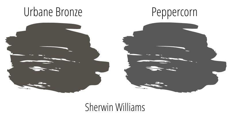 Paint Swatch Comparison of Sherwin Williams Urbane Bronze versus Sherwin Williams Peppercorn