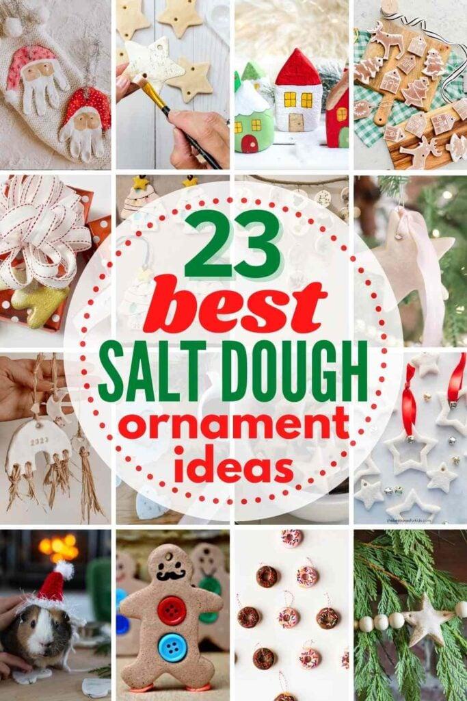 """grid with 16 favorite salt dough ornaments """"23 BEST Salt Dough Ornament Ideas"""""""
