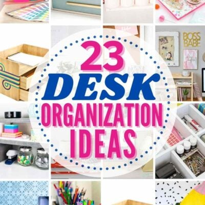 grid with 12 examples of awesome desk organization ideas in post!