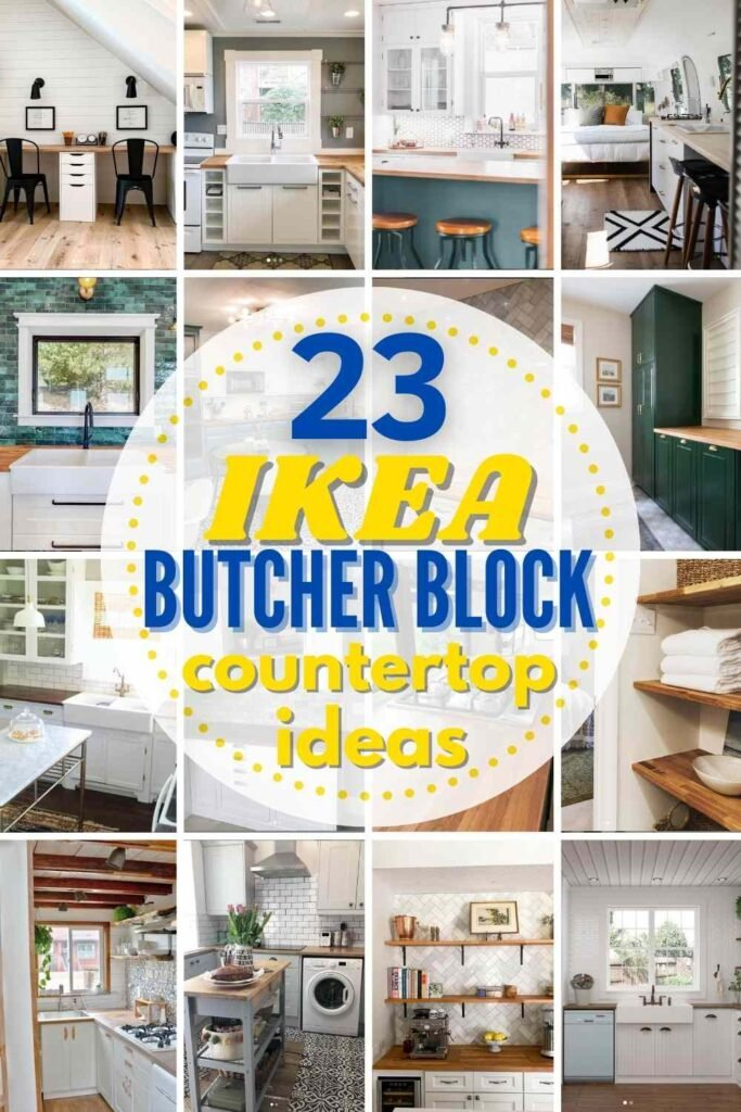 grid with 12 examples of IKEA Karlby Butcher Block Counters being used for different applications in real homes: kitchens, bathrooms, craft rooms, offices, floating shelves and more!