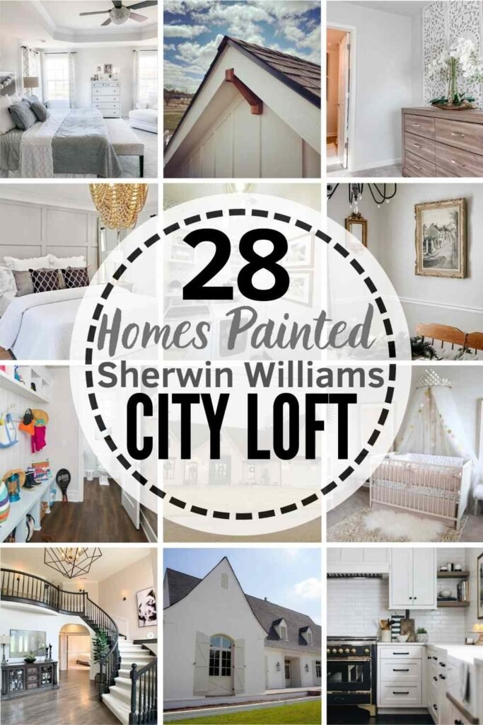 """grid with 12 examples of Sherwin Williams City Loft: """"28 Homes Painted Sherwin Williams City Loft"""""""