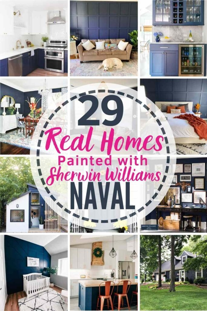 """grid with 12 examples of Sherwin Williams Naval in real homes. text"""" 29 real homes painted with Sherwin Williams Naval"""""""