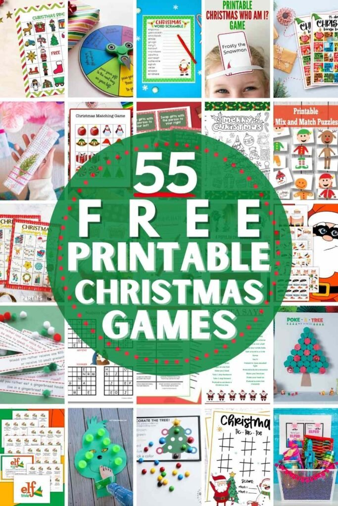 """grid with 20 examples of the free printable christmas game ideas in the post: """"55 Free Printable Christmas Games"""""""